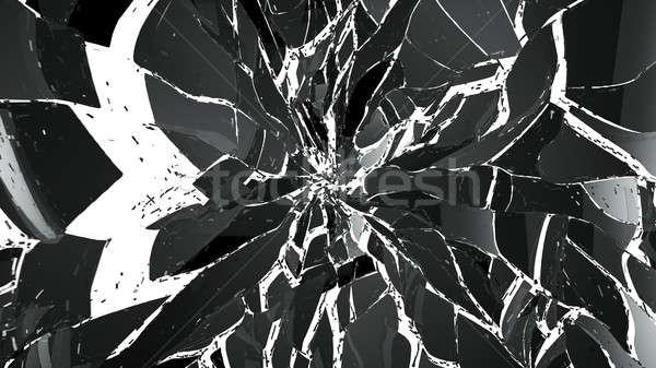 Piezas agrietado vidrio blanco grande Foto stock © Arsgera