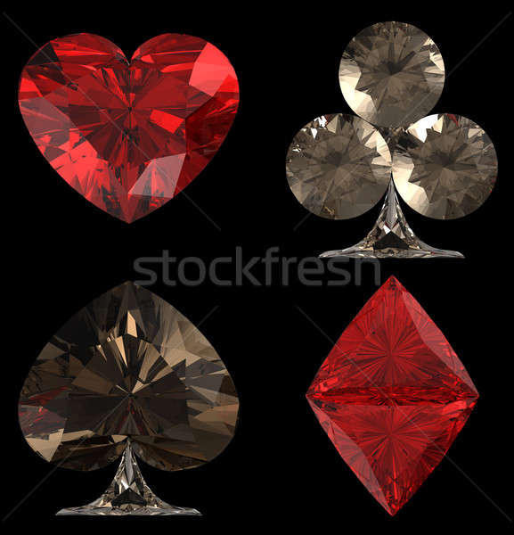Colored Diamond shaped Card Suits Stock photo © Arsgera