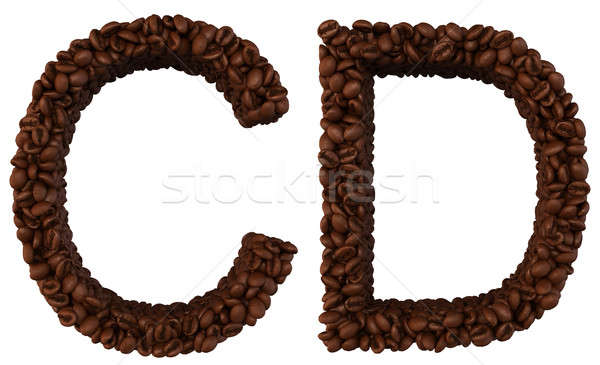 Coffee font C and D letters isolated Stock photo © Arsgera