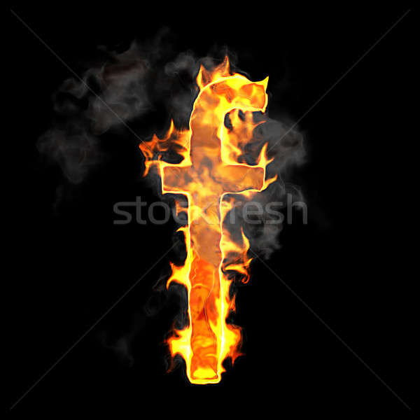 Burning and flame font F letter Stock photo © Arsgera