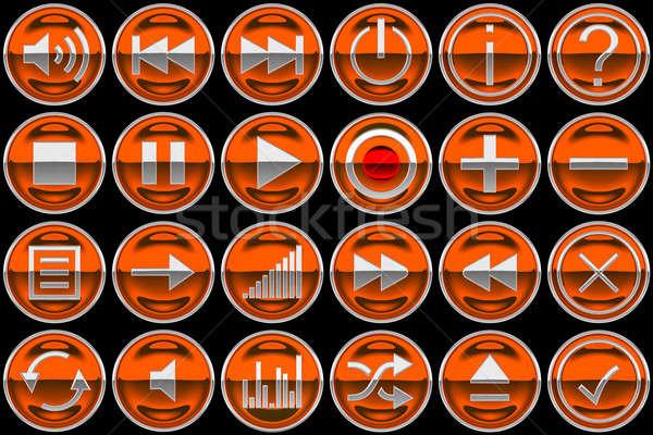 Round orange Control panel buttons Stock photo © Arsgera