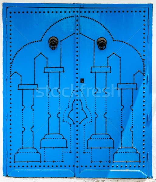 Azul porta tradicional ornamento símbolo Tunísia Foto stock © Arsgera