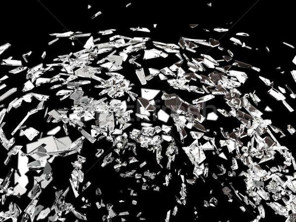 Destructed or broken glass on black isolated Stock photo © Arsgera
