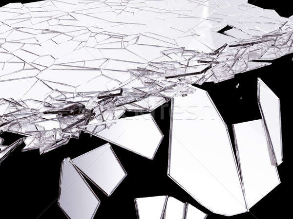 sharp Pieces of splitted glass on black Stock photo © Arsgera