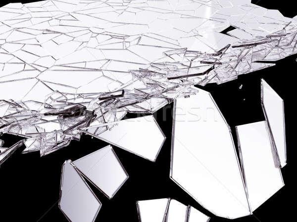 Scherp stukken glas zwarte groot Stockfoto © Arsgera