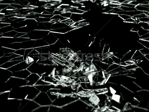 Destructed and splitted glass pieces on black  Stock photo © Arsgera