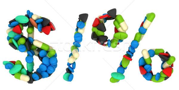 Pills font US dollar, percent symbols and slash Stock photo © Arsgera