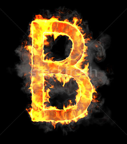 Burning and flame font B letter  Stock photo © Arsgera