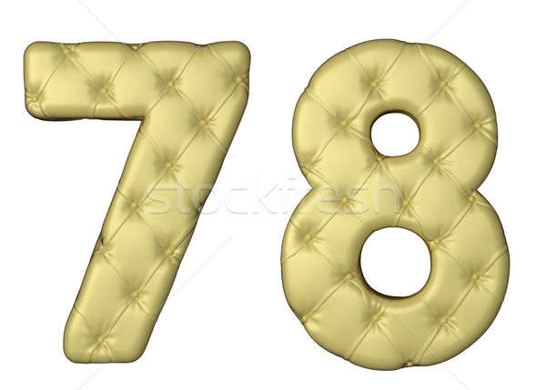 Stock photo: Luxury beige leather font 7 8 numerals