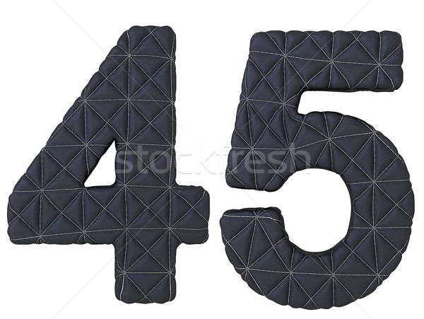 Stitched leather font 4 5 numerals Stock photo © Arsgera