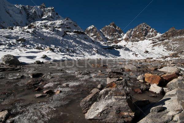 Renjo pass: stream and peaks in Himalayas Stock photo © Arsgera