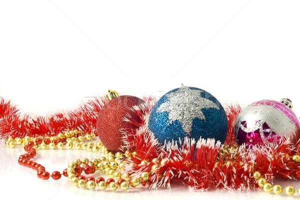 Zdjęcia stock: Christmas · kartkę · z · życzeniami · czerwony · niebieski · różowy