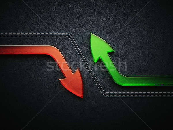 Growth and decline: arrows over black leather pattern Stock photo © Arsgera