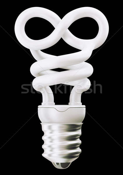 infinity symbol light bulb isolated on black Stock photo © Arsgera
