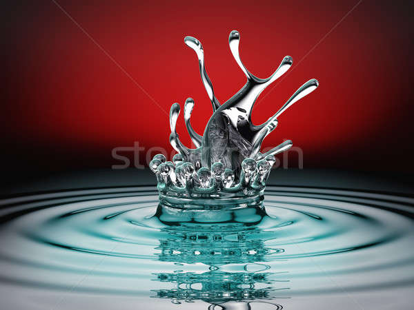 Blue colorful fluid splash and ripples over red Stock photo © Arsgera