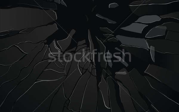 Cracked or Shattered glass on black Stock photo © Arsgera