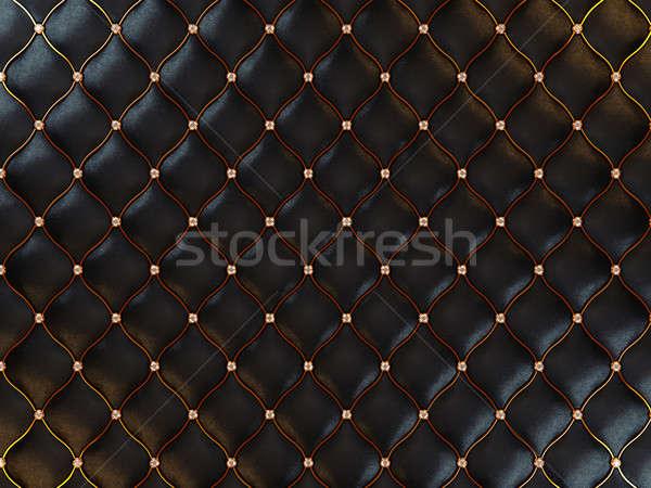 Lusso nero pelle pattern filo Foto d'archivio © Arsgera