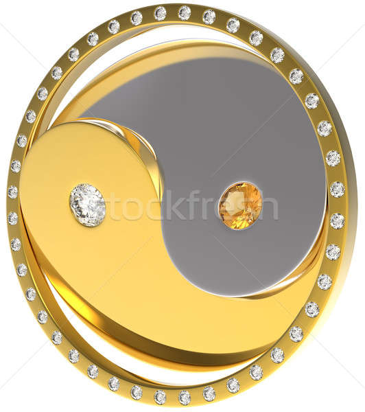 Rotating Ying Yang jewel sybmol. Gold and diamonds Stock photo © Arsgera