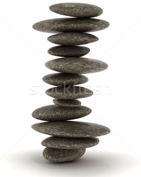 Stability and Zen. Balanced black stones tower Stock photo © Arsgera