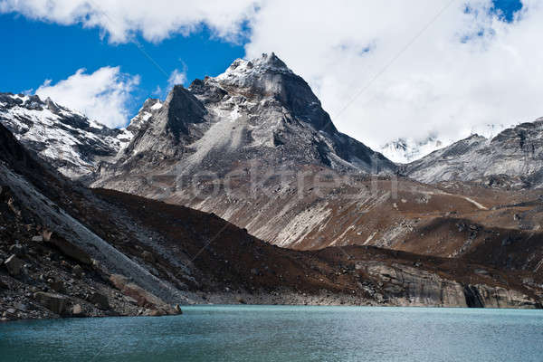 Summit and Sacred Lake near Gokyo in Himalayas Stock photo © Arsgera