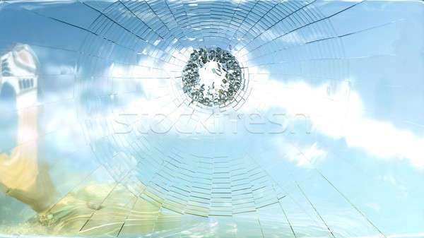 Violence and freedom: shattered galss and blue sky reflection Stock photo © Arsgera