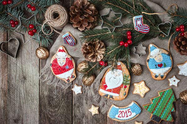Navidad decorado cookies rústico estilo Foto stock © Arsgera