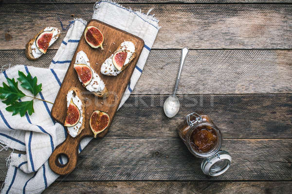Bruschetta snacks with jam and figs rustic style Stock photo © Arsgera