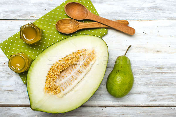Saludable melón verde pera miel rústico Foto stock © Arsgera