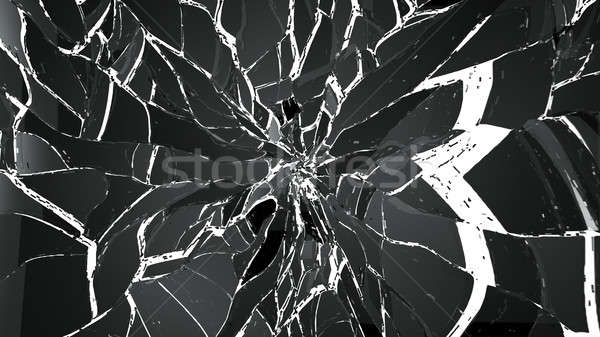 Pieces of glass splitted or cracked on white Stock photo © Arsgera