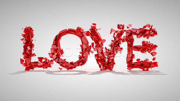 Love and divorce concept - red broken word Stock photo © Arsgera