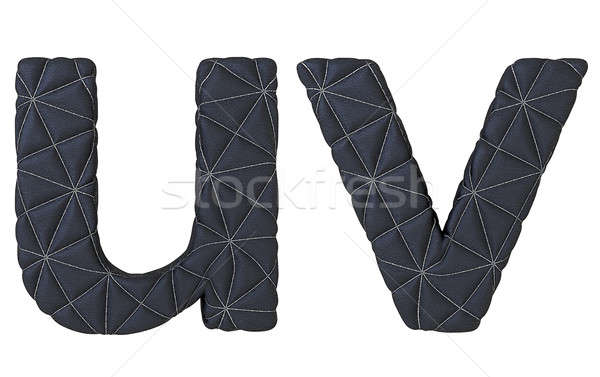 Lowercase stitched leather font u v letters Stock photo © Arsgera
