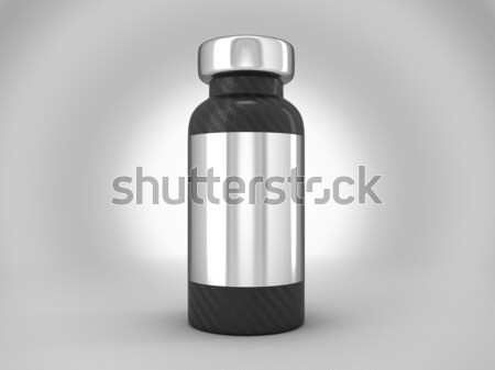 Carbon fiber ampoule with silver sticker Stock photo © Arsgera