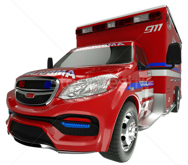 Emergency services vehicle: wide angle view of on white Stock photo © Arsgera