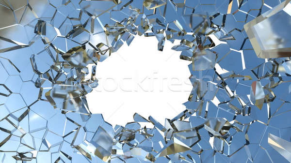 Shattered glass: sharp Pieces and hole on white Stock photo © Arsgera