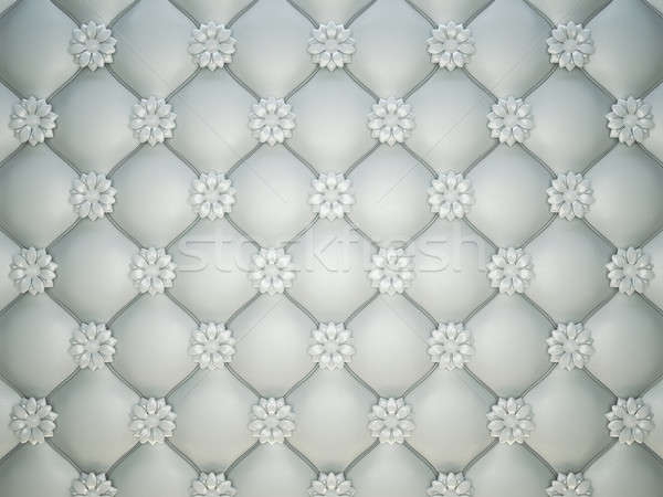 white stitched leather pattern with flower buttons and bumps Stock photo © Arsgera