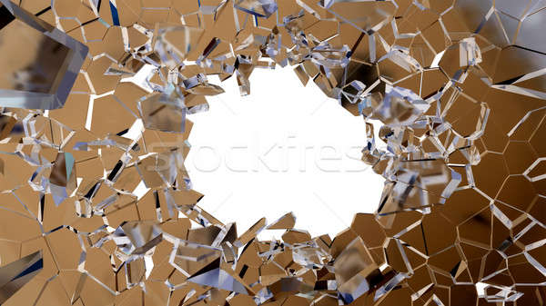 Bullet hole and pieces of shattered glass  Stock photo © Arsgera
