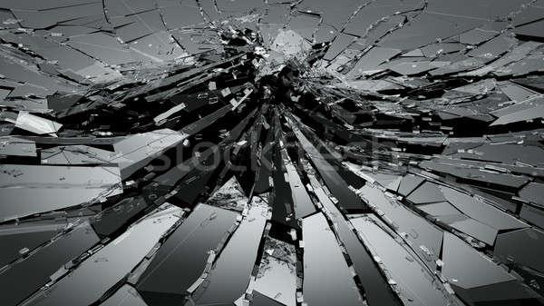 Sérült törött üveg fekete 3D renderelt kép 3d illusztráció Stock fotó © Arsgera