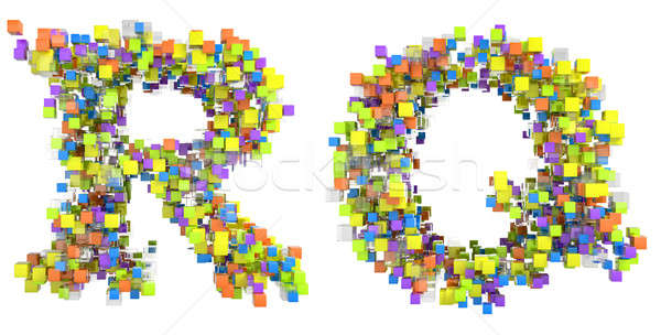 Abstract cubic font R and Q letters Stock photo © Arsgera