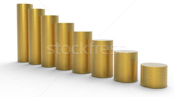 Zdjęcia stock: Postęp · strata · złoty · monet · metal · finansów