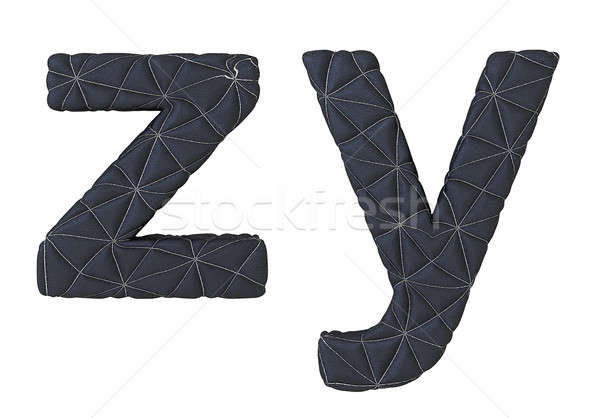 Lowercase stitched leather font z y letters Stock photo © Arsgera