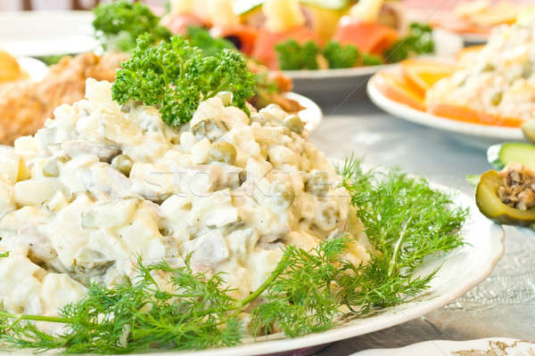 Russisch salade banket restaurant gericht een Stockfoto © Arsgera