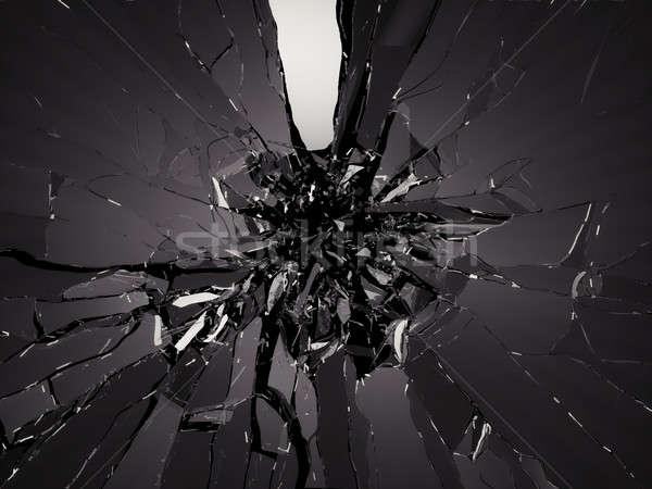 Pieces of Broken Shattered black glass Stock photo © Arsgera