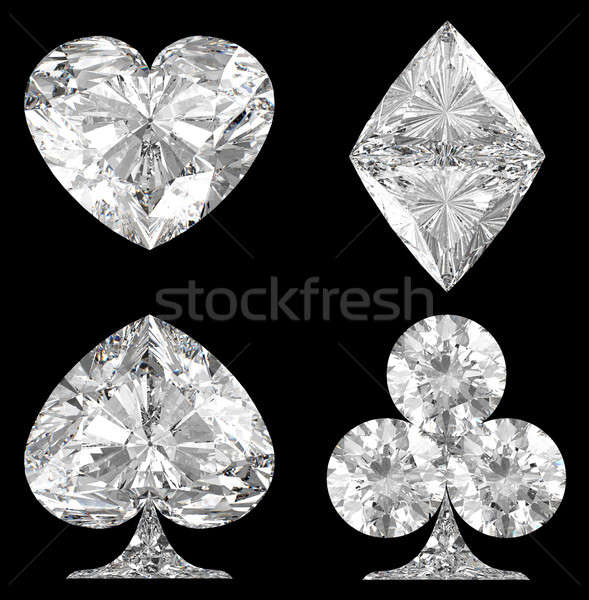 Diamond shaped Card Suits over black Stock photo © Arsgera