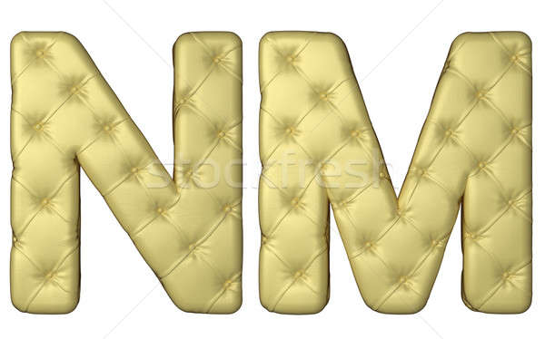 Luxury beige leather font N M letters  Stock photo © Arsgera