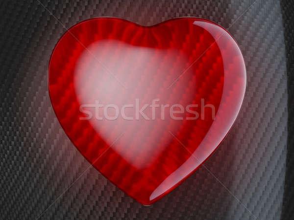 Rojo forma de corazón fibra de carbono coche textura amor Foto stock © Arsgera