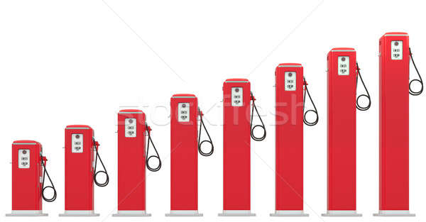Fuel prices: red petrol pumps chart isolated Stock photo © Arsgera