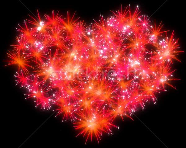 Valentin nap piros tűzijáték szív alak fekete égbolt Stock fotó © Arsgera