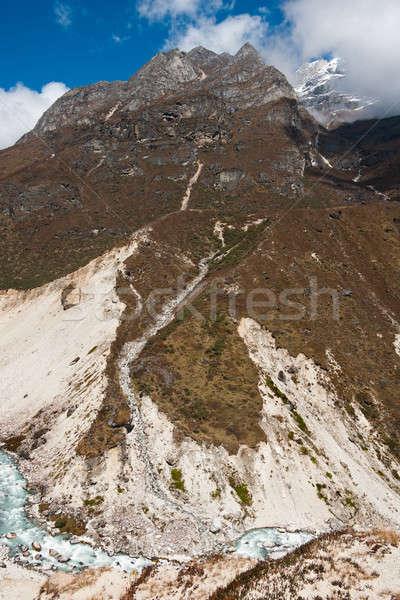 Himalája tájkép dombok folyam kirándulás Nepál Stock fotó © Arsgera