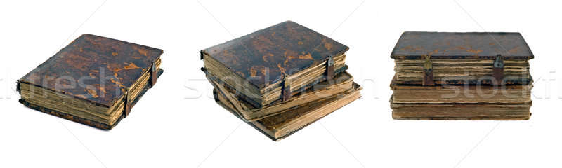 Collage of Stack of old obsolete books views over white Stock photo © Arsgera