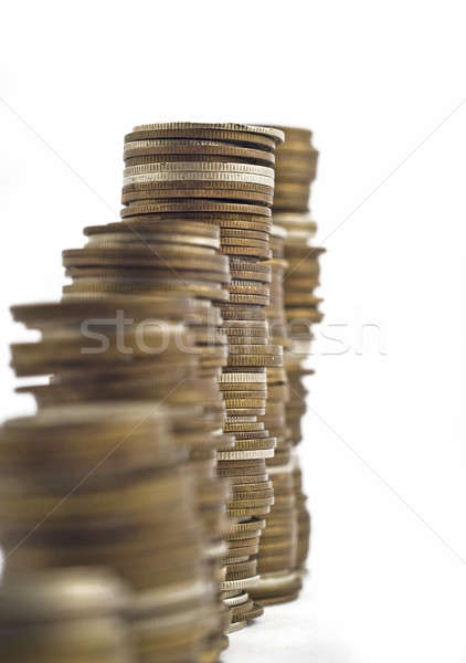 Towers assembled of coins. Slump or growth Stock photo © Arsgera